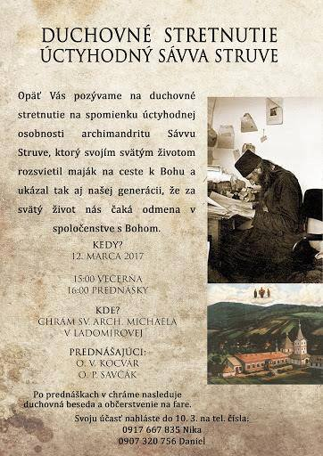 12.3.2017 Duchovné stretnutie úctihodný Sávva Struve v Ladomírovej