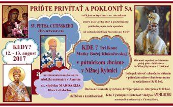 <s>12.-13. august (sobota-nedeľa) Pozvanie do Nižnej Rybnice</s>