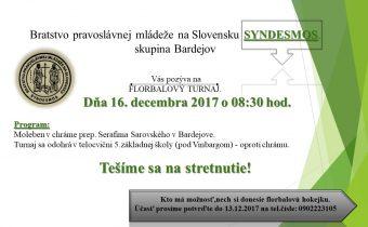 <s>16. decembra 2017 (sobota) Florbalový turnaj – Bardejov</s>