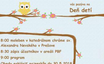 <s>2. júna 2018 (sobota) vás pozývame na Deň detí v Prešove</s>