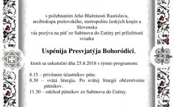 <s>25. augusta 2018 – Púť zo Sabinova do Ľutiny</s>