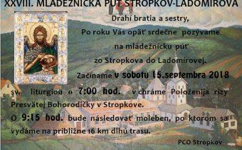 <s>15. septembra 2018 – 28. mládežnícka púť Stropkov-Ladomírová</s>