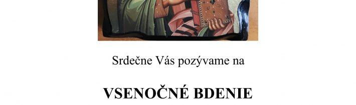 <s>24. decembra 2018 (pondelok) – Vsenočné bdenie v česť sv. Spiridona Trimifuntského v Medveďom</s>