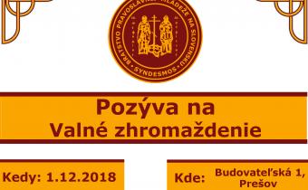 1.decembra 2018 (sobota) – Valné zhromaždenie BPM na Slovensku vPrešove