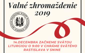 14. decembra 2019 (sobota) – Valné zhromaždenie Bratstva